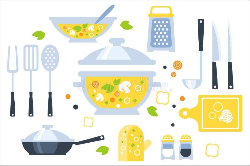 Grupo da preparação da sopa de ilustração dos utensílios Coleção gráfica primitiva lisa do estilo de cozinhar artigos e vegetais ilustração stock