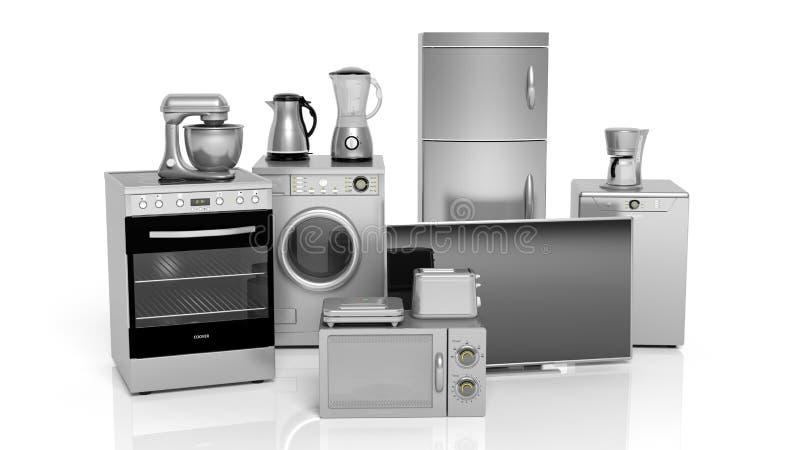 grupo da rendição 3d de aparelhos eletrodomésticos no fundo branco ilustração do vetor