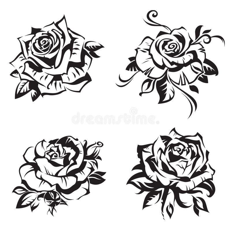 Grupo da rosa do preto ilustração stock