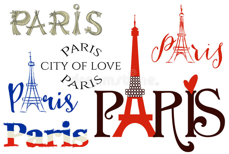 Grupo da rotulação de Paris ilustração stock