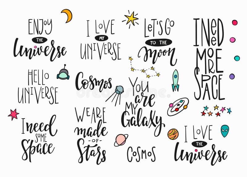 Grupo da rotulação da tipografia das citações do espaço do universo ilustração do vetor