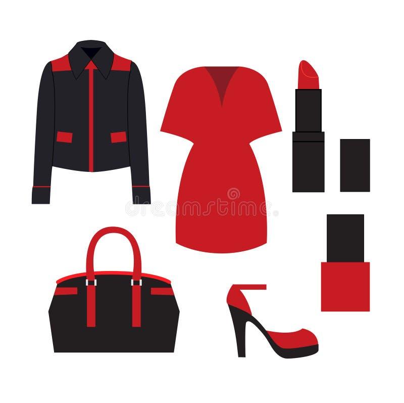 Grupo da roupa da mulher ilustração royalty free