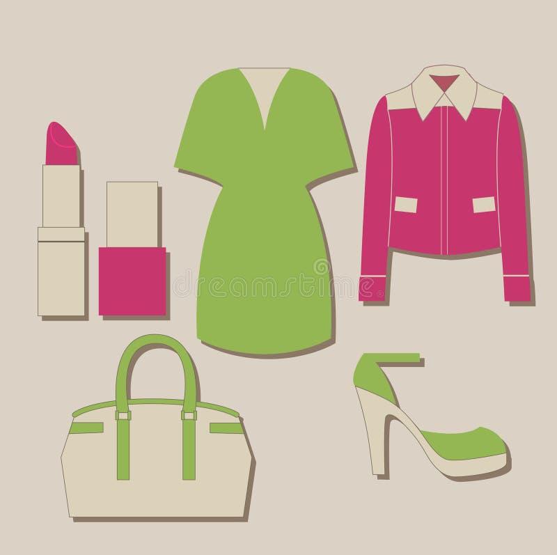 Grupo da roupa da mulher ilustração do vetor