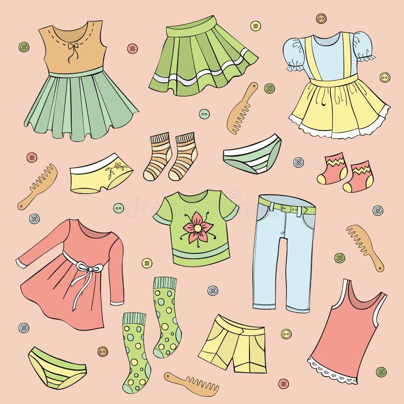 Grupo da roupa das crianças, elementos do projeto do vetor ilustração stock