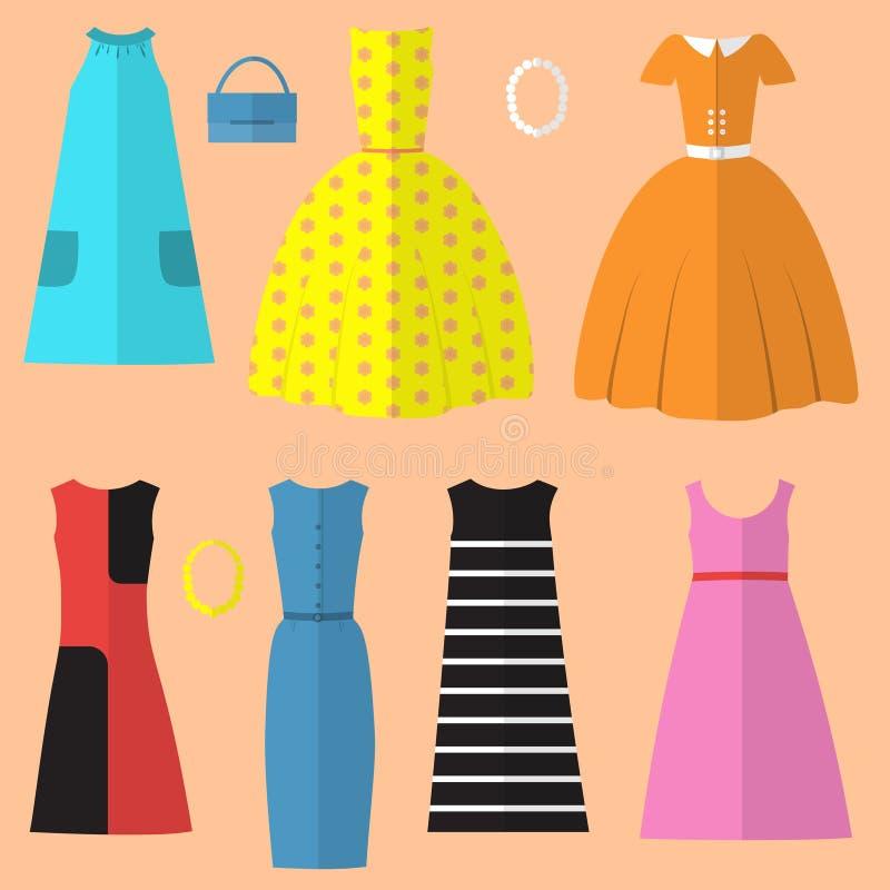 Grupo da roupa e dos acessórios das mulheres no estilo dos anos sessenta ilustração royalty free