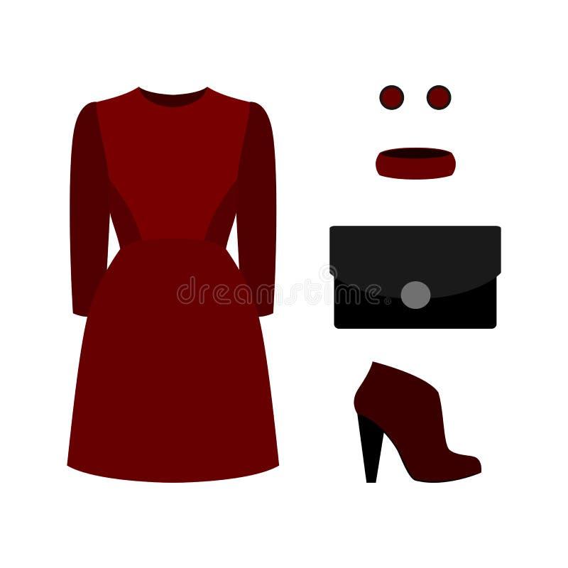 Grupo da roupa na moda das mulheres com vestido e os acessórios vermelhos wo ilustração stock