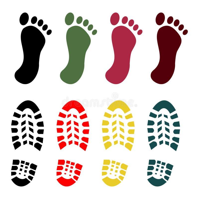 Grupo da sapata e da cópia do pé desencapado ilustração royalty free