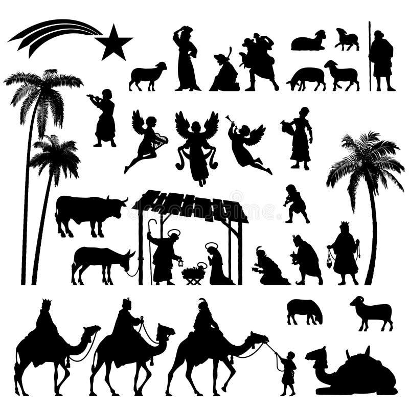 Grupo da silhueta da natividade ilustração royalty free