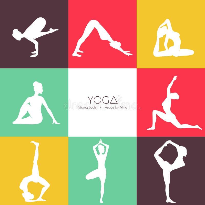 Grupo da silhueta das poses da ioga ilustração do vetor
