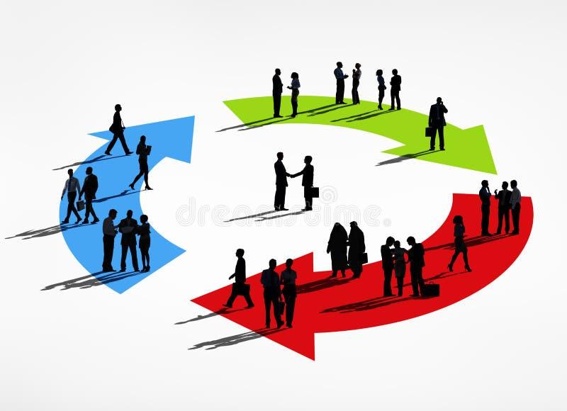 Grupo da silhueta de executivos do conceito do ciclo ilustração do vetor