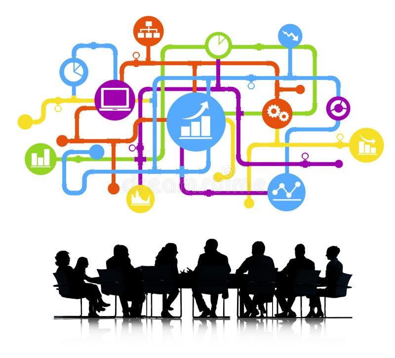 Grupo da silhueta de executivos do encontro ilustração stock