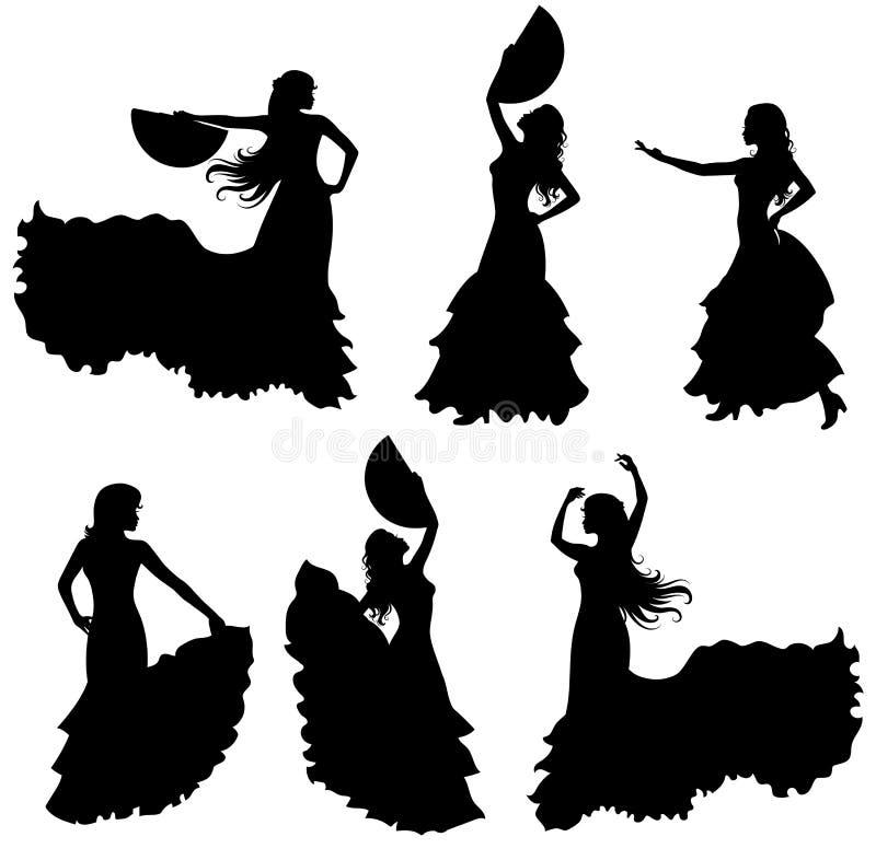 Grupo da silhueta do dançarino do flamenco ilustração stock