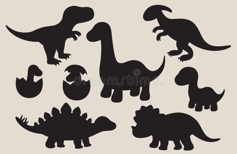 Grupo da silhueta do dinossauro ilustração do vetor