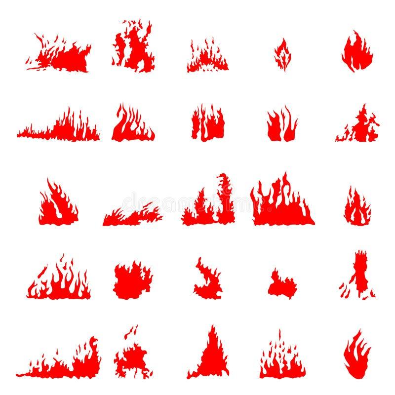 Grupo da silhueta do fogo ilustração royalty free