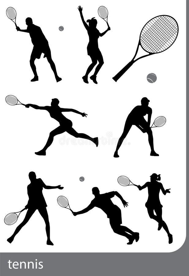 Grupo da silhueta do tênis, isolado ilustração royalty free