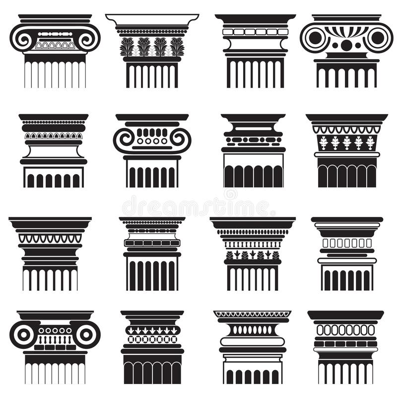 Grupo da silhueta dos capitais de coluna de roma do grego clássico do vetor ilustração stock