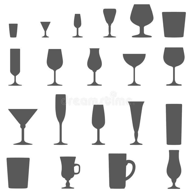 Grupo da silhueta dos vidros do álcool ilustração royalty free