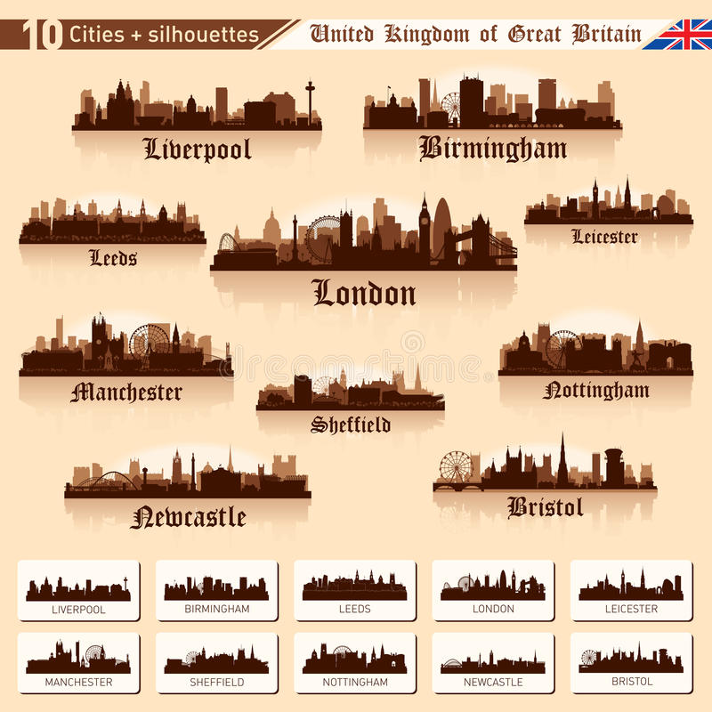 Grupo da skyline da cidade. 10 cidades de Grâ Bretanha #1 ilustração do vetor