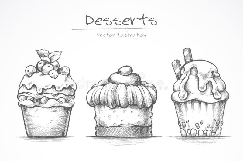 Grupo da sobremesa Ícones do alimento Bolo, gelado, queque, doces Ilustração do vetor da coleção do esboço do lápis ilustração do vetor
