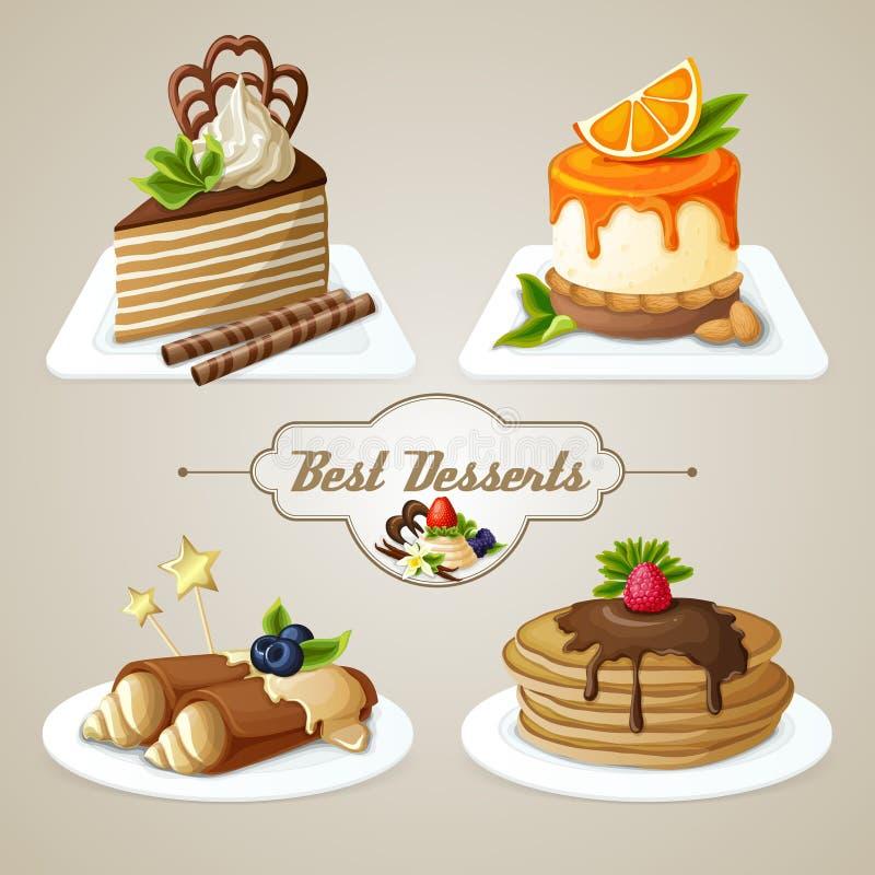 Grupo da sobremesa dos doces ilustração royalty free