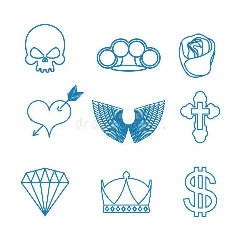 Grupo da tatuagem de estilo linear Crânio e juntas de bronze Rosa e h ilustração do vetor