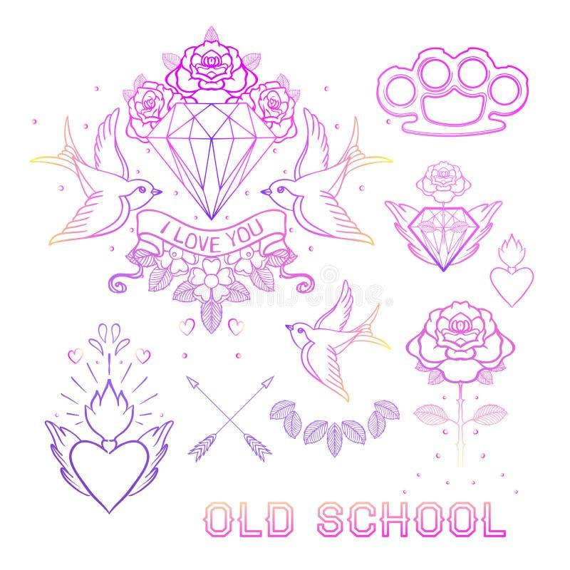 Grupo da tatuagem da velha escola Elementos clássicos da garatuja da tatuagem do vetor: fl ilustração royalty free