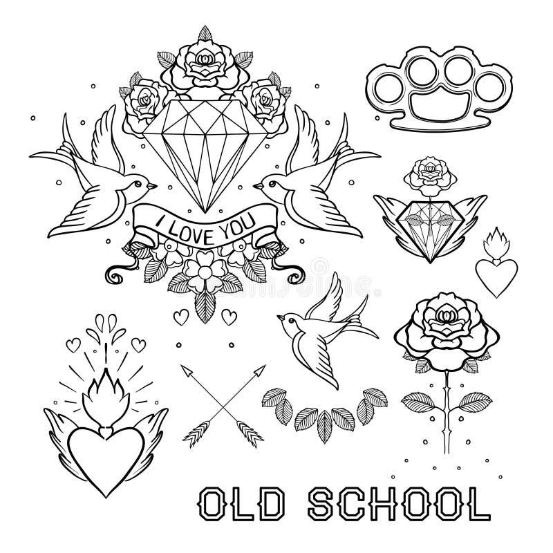 Grupo da tatuagem da velha escola Elementos clássicos da garatuja da tatuagem do vetor: fl ilustração stock