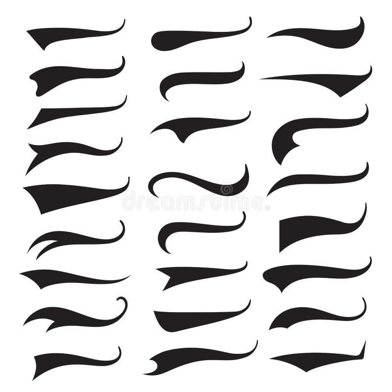 Grupo da tipografia das caudas do Swash e dos swooshes, curva da escova ilustração stock