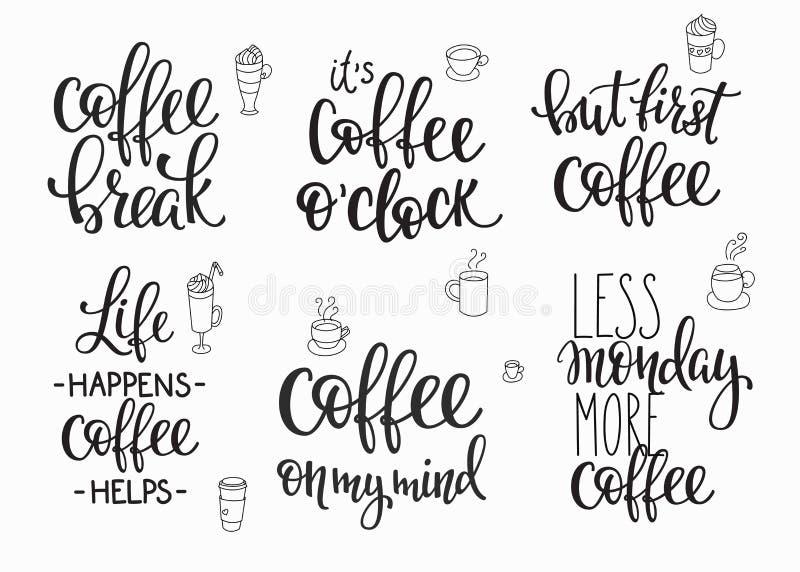 Grupo da tipografia do copo de café das citações ilustração stock