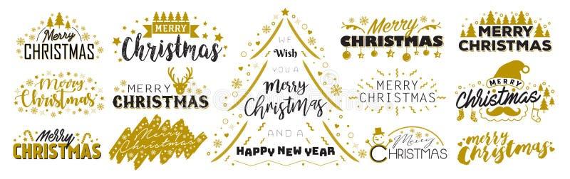 Grupo da tipografia do Feliz Natal foto de stock
