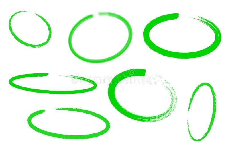 Grupo da tração do círculo, elementos do destaque, marcador verde do projeto isolado no fundo branco, ilustração do vetor ilustração stock