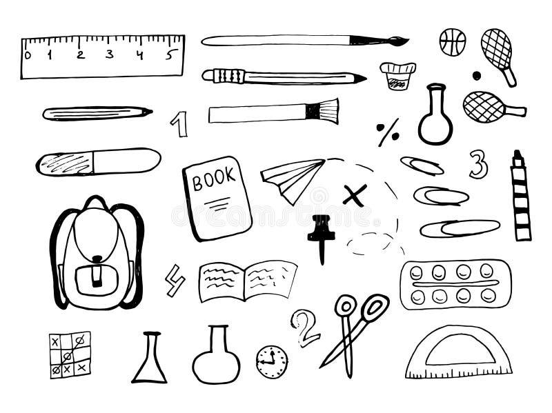 Grupo da tração da mão de ícones da escola no fundo branco Vetor ilustração stock