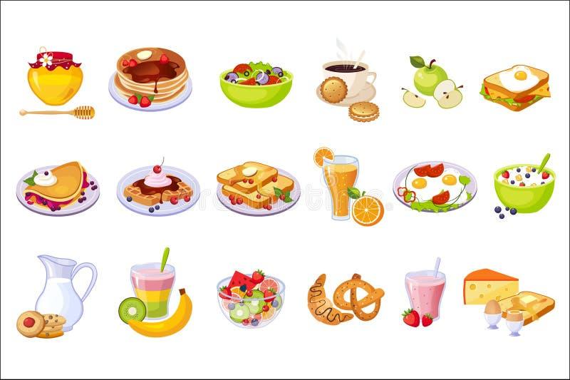 Grupo da variedade do alimento de café da manhã de ícones isolados ilustração royalty free