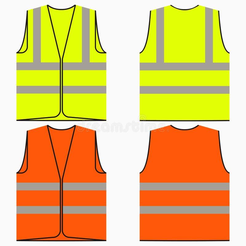 Grupo da veste da segurança de uniforme amarelo e alaranjado do trabalho com listras reflexivas Vetor ilustração do vetor