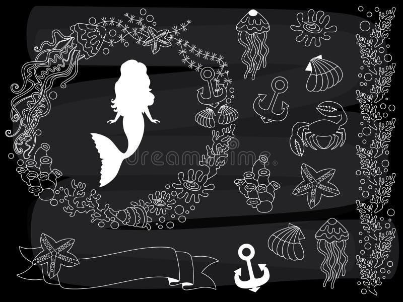 Grupo da vida marinha do quadro do vetor Grupo do vetor de elementos náuticos no fundo do quadro-negro ilustração stock