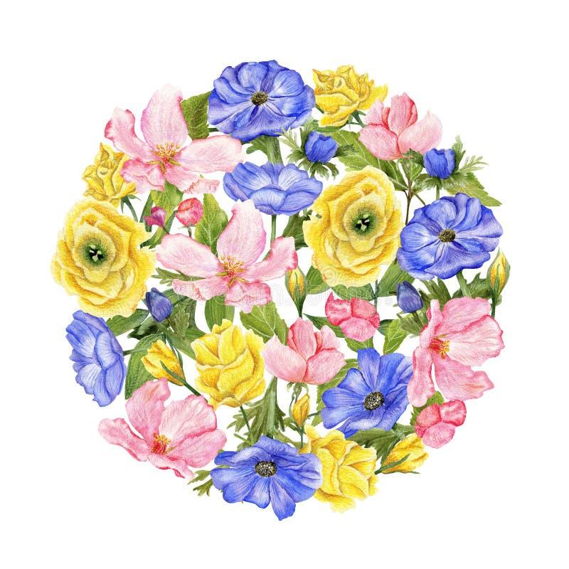 Grupo dado forma redondo de flores ilustração do vetor