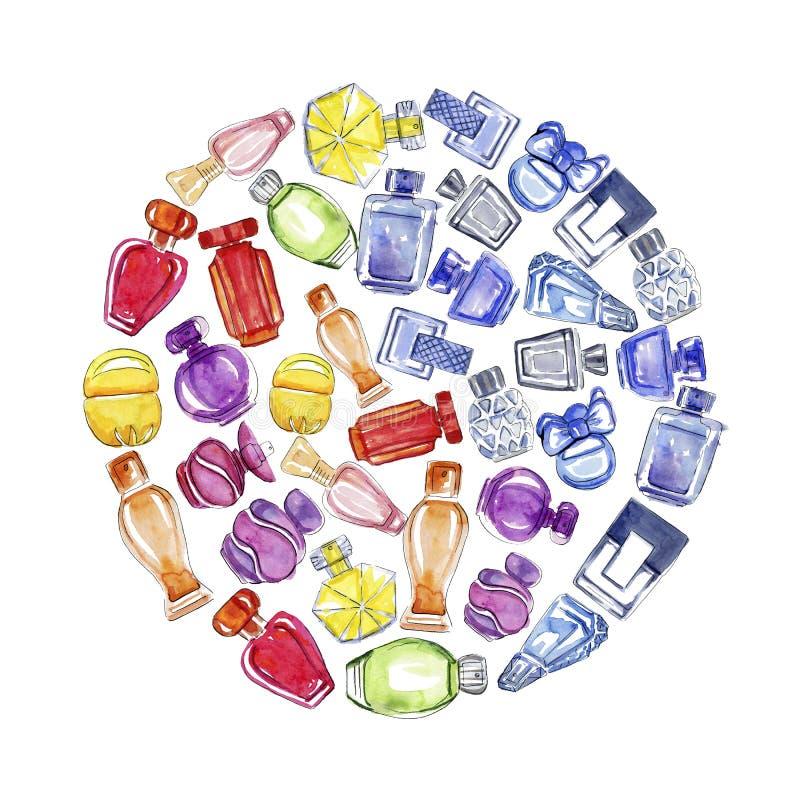 Grupo dado forma redondo de garrafas de perfume ilustração royalty free