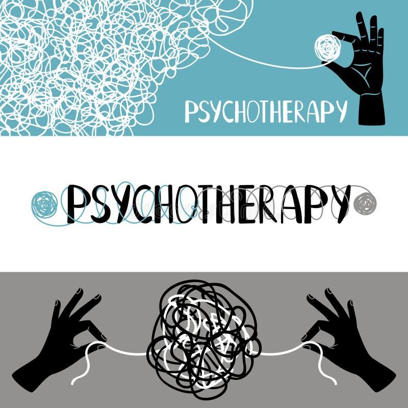 Grupo das bandeiras do conceito da psicoterapia ilustração stock
