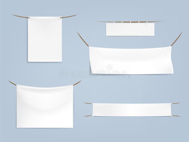 grupo das bandeiras vazias brancas de matéria têxtil ilustração do vetor