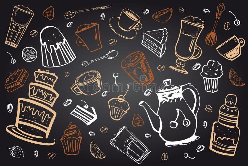 Grupo das bebidas e das sobremesas do café Ilustração tirada mão do vetor do esboço no beckground do quadro-negro ilustração stock