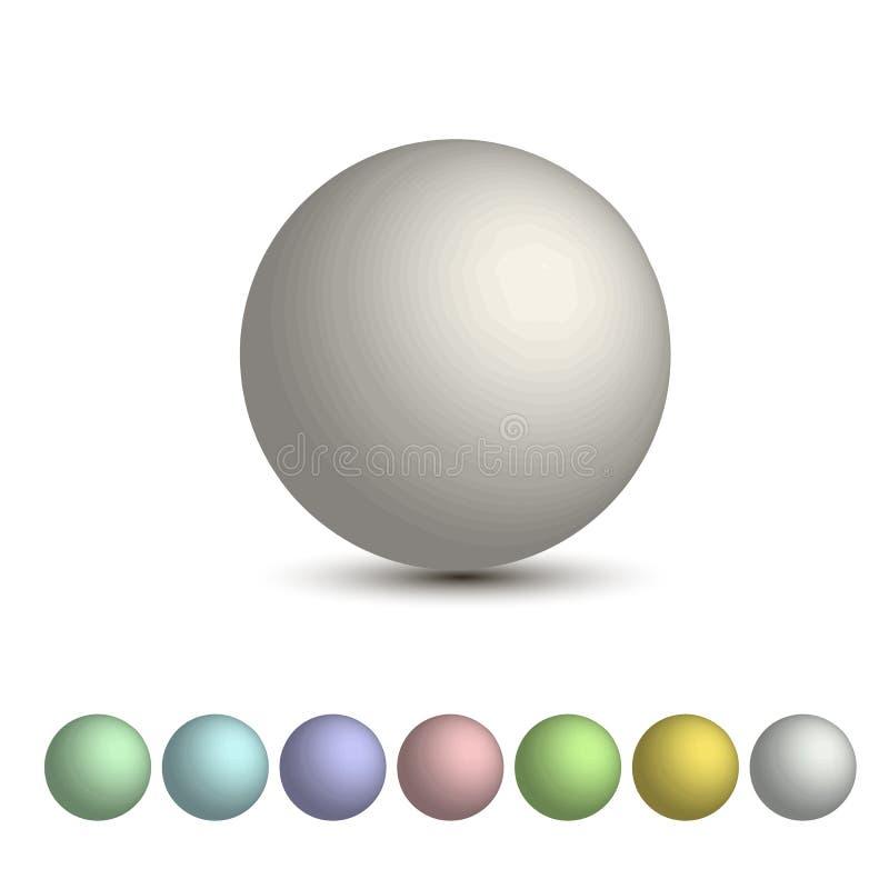 Grupo das bolas 3D, uma paleta do vetor de máscaras pasteis Esfera 3D redonda ilustração royalty free