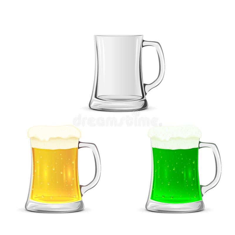 Grupo das canecas de vidro com cerveja ilustração do vetor