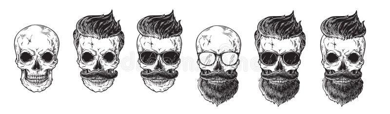 Grupo das caras farpadas dos homens, modernos com o crânio diferente das barbas dos bigodes dos cortes de cabelo Etiquetas dos íc ilustração stock