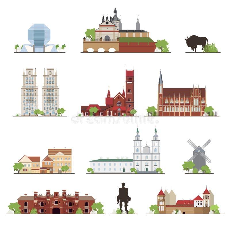 Grupo das construções do país de Bielorrússia, lugares famosos no estilo liso coleção da ilustração ilustração stock