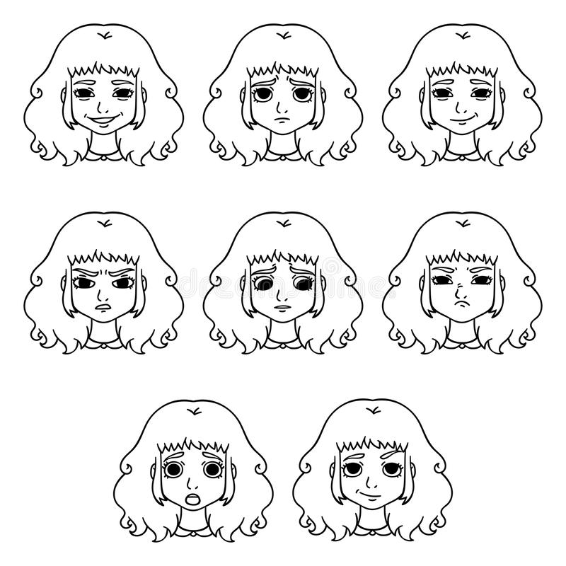 Grupo das emoções da mulher Expressão facial ilustração do vetor