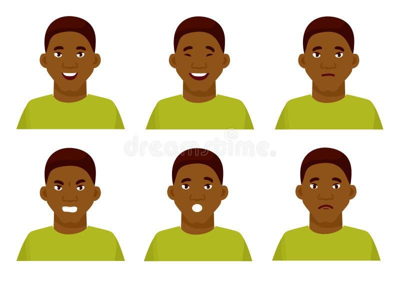 Grupo das emoções faciais masculinas Caráter afro-americano do emoji do indivíduo com expressões diferentes Ilustração do vetor e ilustração stock
