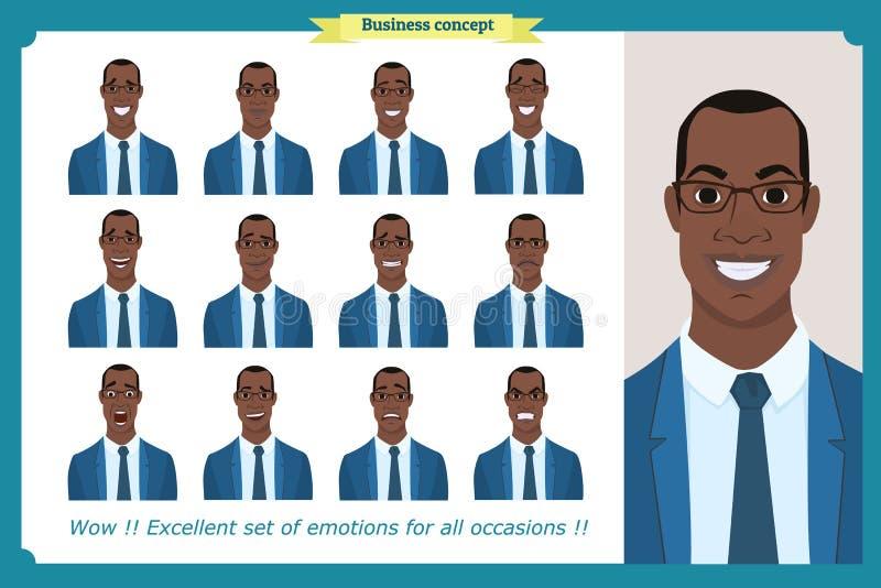 Grupo das emoções faciais masculinas Caráter americano preto do homem de negócio ilustração royalty free