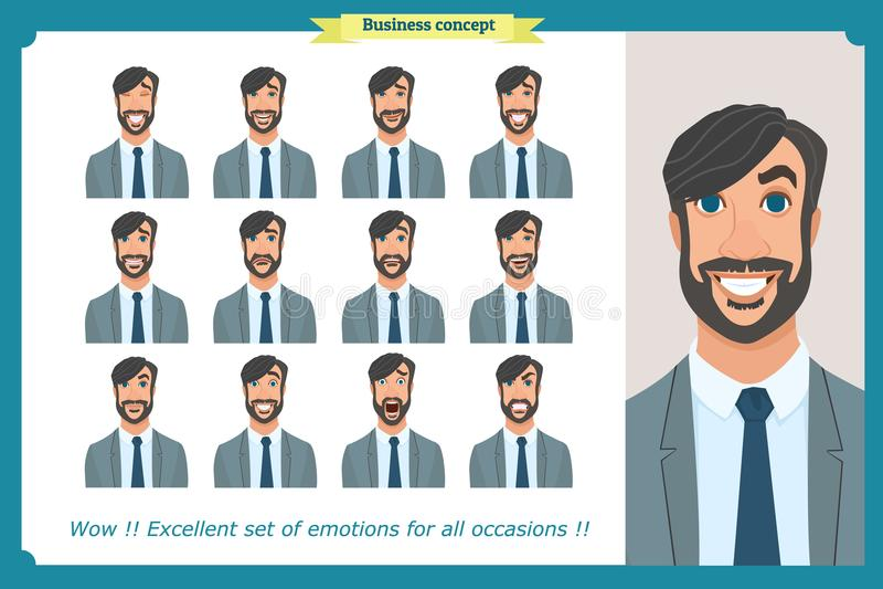 Grupo das emoções faciais masculinas Caráter do homem de negócio com expressões diferentes Vetor liso ilustração do vetor