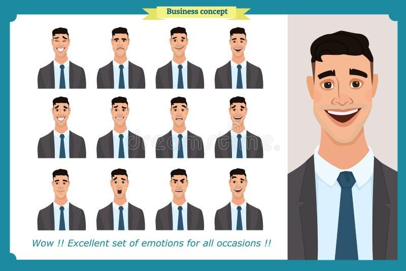 Grupo das emoções faciais masculinas Caráter do homem de negócio com expressões diferentes Vetor liso ilustração stock