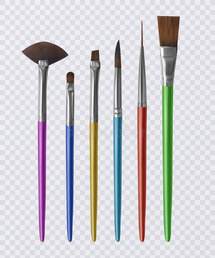 Grupo das escovas realísticas para pintar, pincéis no fundo transparente Ilustração do vetor ilustração stock
